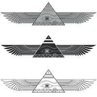silhouette piramide alata con occhio di horus vettore