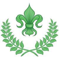 disegno vettoriale di liz fiore con corona di alloro, simbolo utilizzato nell'araldica medievale.