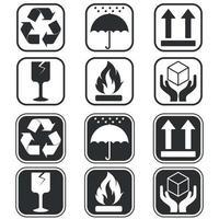 disegno vettoriale di simboli di imballaggio scatola di cartone, due stili diversi