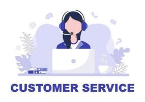 contattaci al servizio clienti per il servizio di assistente personale, consulente personale e rete di social media. illustrazione vettoriale