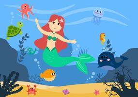 illustrazione vettoriale di sirena sott'acqua simpatici animali marini personaggi dei cartoni animati insieme a pesci, tartarughe, polpi, cavallucci marini, granchi