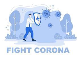 illustrazione vettoriale persone mediche sanitarie che proteggono e combattono contro il virus corona