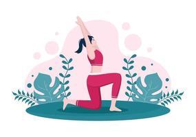 le pratiche di yoga o meditazione mirano a benefici per la salute del corpo per controllare pensieri, emozioni, inizio e ricerca di idee. illustrazione vettoriale di design piatto