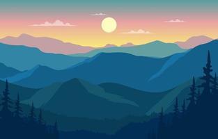 bella illustrazione piana del paesaggio di panorama della montagna della foresta di pini vettore