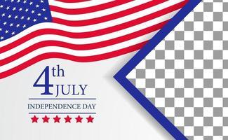 4 luglio modello di bandiera del manifesto del giorno dell'indipendenza americana vettore
