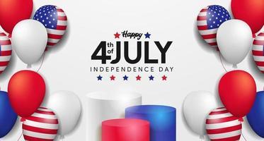 4 luglio giorno dell'indipendenza americana con modello di poster festa palloncino 3d vettore