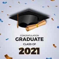 2021 laurea in classe con illustrazione 3d tappo laureato vettore