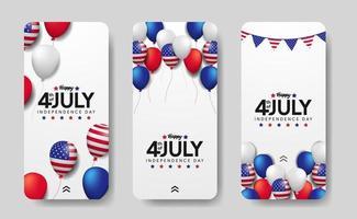 storie di modelli di social media per il 4 luglio giorno dell'indipendenza americana con festa in mongolfiera 3d vettore