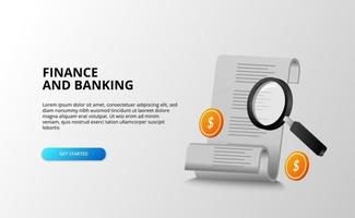 fatture per il concetto di contabilità bancaria finanza con lente di ingrandimento ricerca di monitoraggio con moneta da un dollaro d'oro 3d vettore