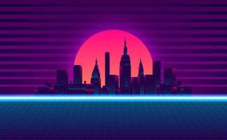 sfondo di colore al neon sfumato vintage anni '80 retrò vettore