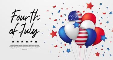 quarto di luglio, giorno dell'indipendenza americana, 4 luglio degli stati uniti con modello di banner poster festa palloncino 3d vettore