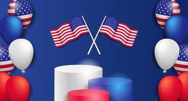 4 luglio giorno dell'indipendenza americana con palloncino 3d con modello di poster festa sul podio vettore