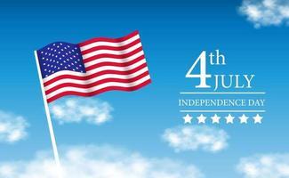 bandiera americana al cielo per il 4 luglio, giorno dell'indipendenza americana vettore