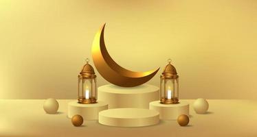 evento islamico del ramadan con lanterna dorata e modello di visualizzazione del prodotto del podio del cilindro vettore