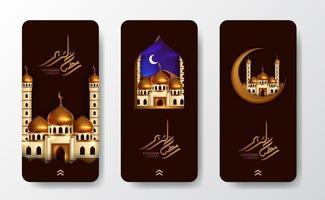modello di banner poster di storie sui social media ramadan vettore