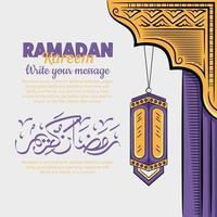 illustrazione disegnata a mano del concetto di saluto dei giorni di ramadan kareem o eid al fitr vettore