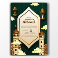 poster di invito ramadan mubarak elegante con decorazione moschea e lanterna vettore