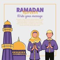 illustrazione disegnata a mano del saluto dei giorni di ramadan kareem o eid al fitr vettore