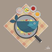 Venerdì pesce Fry modello di pubblicità frutti di mare vettore