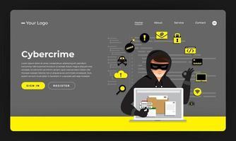 hacker informatico che ruba dati su un dispositivo Internet vettore