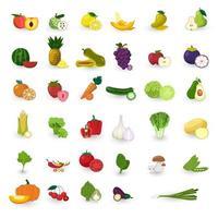 insieme di vettore di frutta e verdura in stile design piatto.