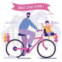 padre e figlio vanno in bicicletta per la città vettore