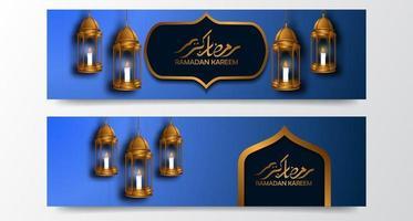 sfondo di lusso elegante ramadan kareem con modello di banner poster 3d lanterna araba vettore