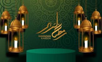 sfondo di lusso elegante ramadan kareem con lanterna araba 3d vettore