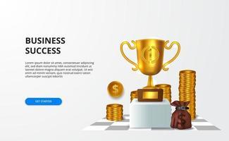 affari di successo con il premio finanziario e il risultato con il grande trofeo dorato 3d per banner e presentazione vettore