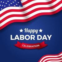modello di banner poster festa del lavoro con bandiera americana usa su sfondo blu, modello di banner poster vettore