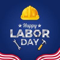 Festa del lavoro, modello di banner poster festa dei lavoratori con casco giallo di sicurezza e bandiera a strisce con sfondo blu vettore
