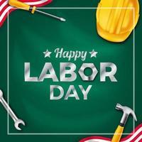 festa del lavoro, cultura della democrazia della giornata internazionale dei lavoratori con casco giallo di sicurezza, strumento di attrezzatura da costruzione con sfondo verde. vettore