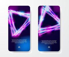 modello di storie sui social media. cool retrò vintage anni '80 triangolo neon color e luminoso effetto luminoso per la vita notturna su sfondo scuro vettore