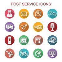 servizio postale lunga ombra icone vettore