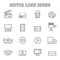 icone di linea di film vettore