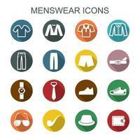 icone di lunga ombra di abbigliamento maschile vettore