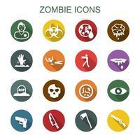 icone di lunga ombra di zombie vettore