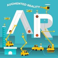 team di costruzione che costruisce la frase realtà aumentata vettore
