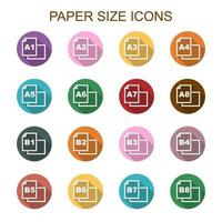 icone di lunga ombra di formato carta vettore