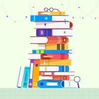 set design piatto di libri vettore