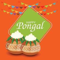 illustrazione vettoriale di uno sfondo per felice festa del raccolto pongal festa del Tamil Nadu India del Sud.