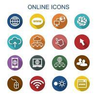 icone in linea lunga ombra vettore