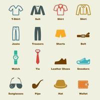 elementi vettoriali di abbigliamento maschile