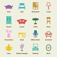 elementi vettoriali di mobili