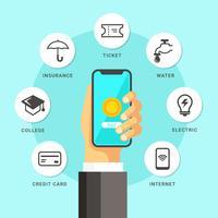 Illustrazione di pagamento mobile vettore