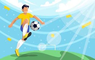 giocatore di football che dà dei calci alla palla nello stadio vettore