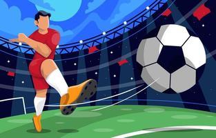 giocatore di football calciare la palla vettore