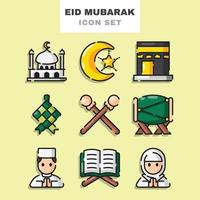 set di icone di eid mubarak vettore