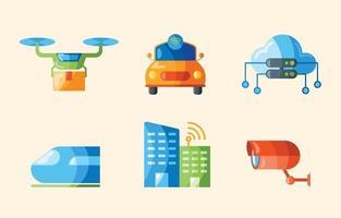 set di icone di città intelligente vettore
