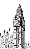 schizzo doodle big ben londra punto di riferimento illustrazione del profilo vettore